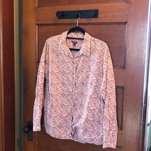 Merona long sleeved button up floral blouse